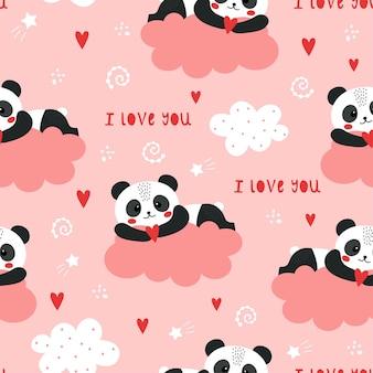 Śliczny wzór walentynki z pandą.