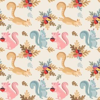 Śliczny wzór wiewiórki i orzechów