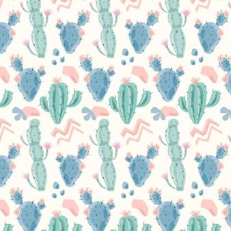 Śliczny wzór z kaktusowymi roślinami