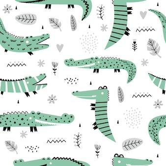 Śliczny wzór z krokodylami.