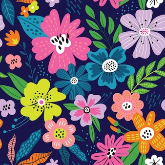 Śliczny wzór z kwiatami i liśćmi idealny do pakowania tapety z fakturą tkaniny papierowej