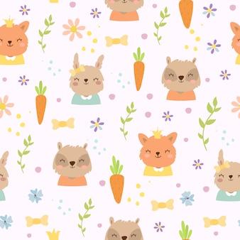 Śliczny wzór z marchewkami i zwierzętami