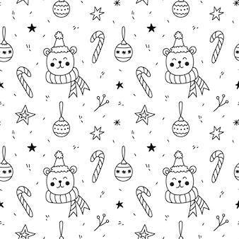 Śliczny wzór z niedźwiedziami w świątecznych czapkach bombki laski cukrowe gwiazdy i gałązki