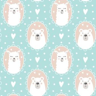 Śliczny wzór z niedźwiedziem i twarzą lamy