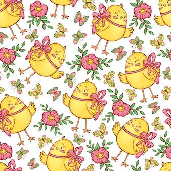 Śliczny wzór z pisklętami, motylami i kwiatami