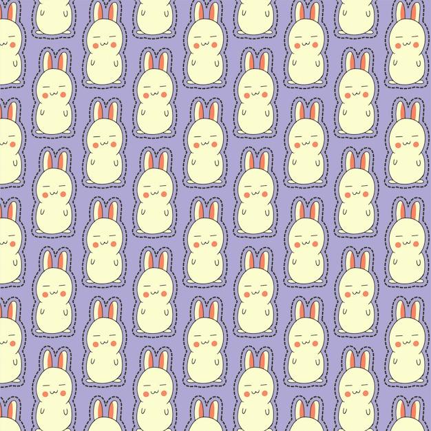 Śliczny wzór z zaspanym króliczkiem