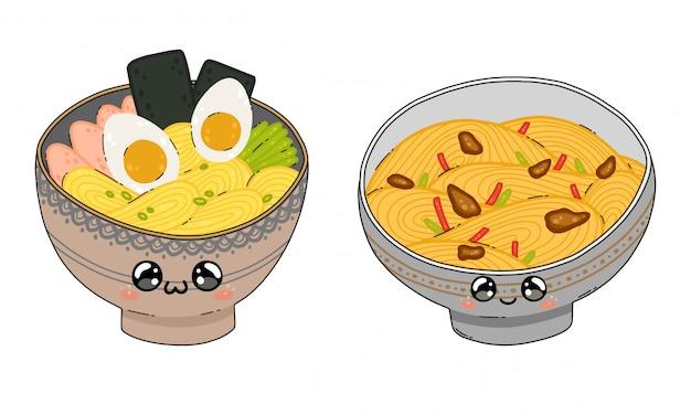 Śliczny yakisoba i ramen kluski zupy puchar w japonia kawaii stylu odizolowywającym na bielu