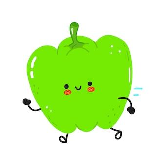 Śliczny zabawny biegnący zielony pieprz