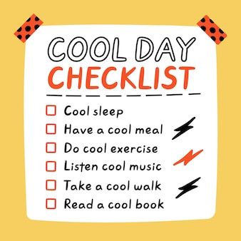 Śliczny zabawny cool day selfcare lista kontrolna do zrobienia