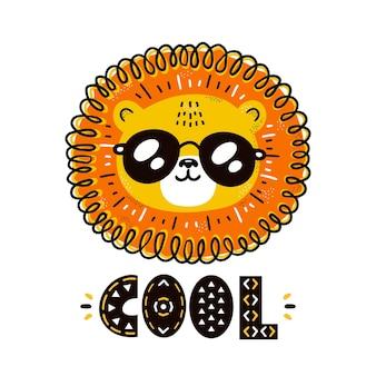 Śliczny zabawny fajny lew w postaci okularów przeciwsłonecznych