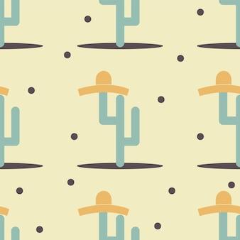 Śliczny zabawny kaktus z nadrukiem sombrero dla tekstury i bezszwowego wzoru tekstylnego. streszczenie ilustracji wektorowych dla grafiki tła. płaski styl