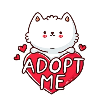 Śliczny zabawny kot trzymaj znak serca adoptuj mnie