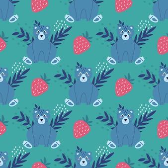 Śliczny zabawny miś w kolorze niebieskim z truskawkami i roślinami na zielonym tle wektor wzór