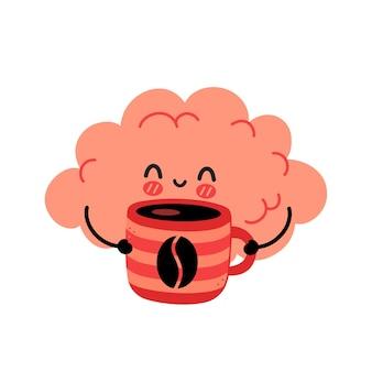 Śliczny zabawny mózg pije kawę z kubka