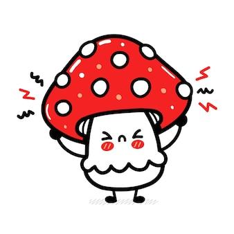 Śliczny zabawny smutny szczęśliwy grzyb amanita