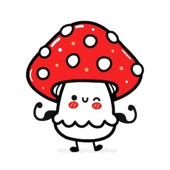 Śliczny zabawny szczęśliwy amanita grzyb pokazuje mięśnie