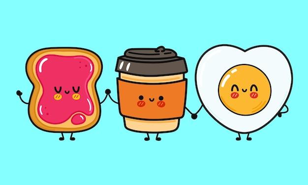 Śliczny zabawny szczęśliwy kubek papierowy z kawą z dżemem i smażonym jajkiem