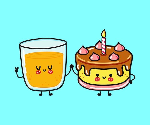 Śliczny zabawny szczęśliwy sok pomarańczowy i postać ciasta