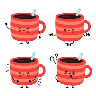 Śliczny zabawny zestaw kubków do kawy coffee