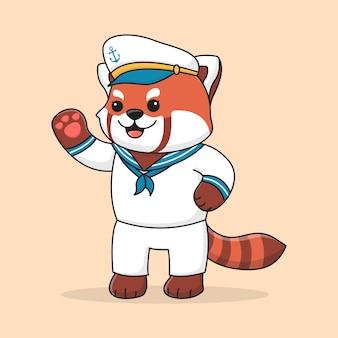 Śliczny żeglarz panda czerwona