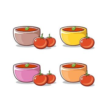 Śliczny zestaw do zupy pomidorowej z miską i pomidorem