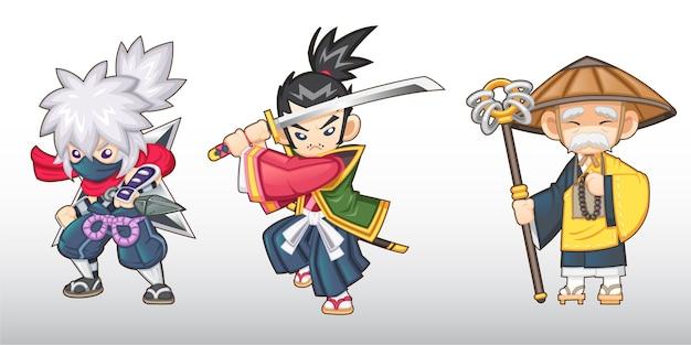 Śliczny zestaw fantastycznych japońskich postaci [ninja, samurai, monk]
