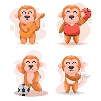 Śliczny zestaw małp
