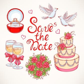 Śliczny zestaw na ślub z parą gołębi, tortem weselnym i bukietem. ilustracje rysowane ręcznie.