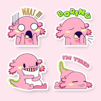 Śliczny zestaw naklejek axolotl