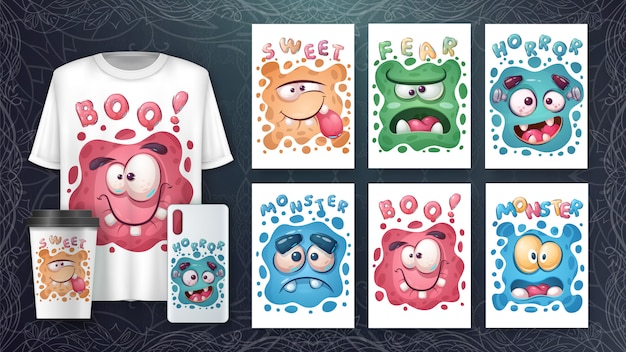 Śliczny zestaw plakatu z twarzą potwora i merchandising