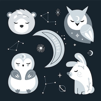 Śliczny zestaw przedszkola ze zwierzętami leśnymi, gwiazdami. ilustracja.