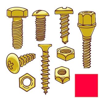 Śliczny zestaw śrub i nakrętek. ręcznie rysowane ilustracji