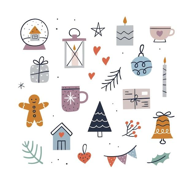 Śliczny zestaw świąteczny hygge - kubek, świeczki, choinka, prezent, piernikowy ludzik, kula śnieżna, mały domek, dzwonek. ręcznie rysowane ilustracji wektorowych. przytulna kolekcja elementów zimowych.