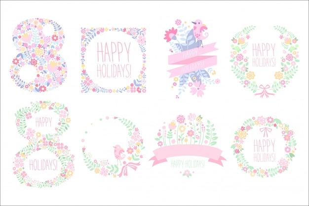 Śliczny zestaw z kwiatowymi elementami w delikatnych kolorach. 8 marca. międzynarodowy dzień kobiet. wesołych świąt.