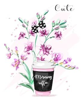 Śliczny zestaw z papierowymi kwiatami filiżanki kawy i kokardką