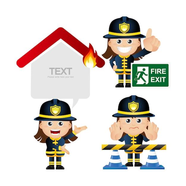 Śliczny zestaw zestaw strażaka
