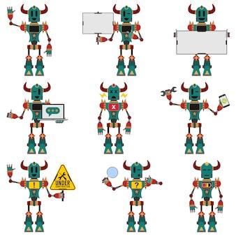 Śliczny zielony maskotka z kolekcją różnych poz