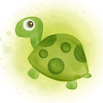 Śliczny zielony żółw w stylu akwareli.
