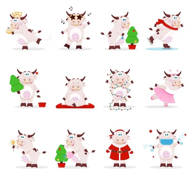 Śliczny zodiak chiński wół krowy