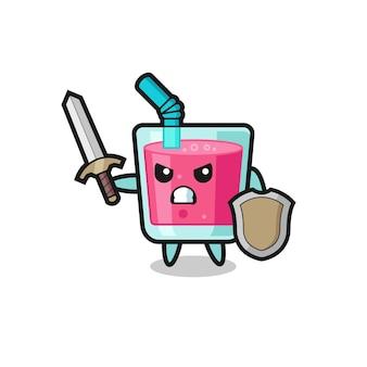 Śliczny żołnierz z sokiem truskawkowym walczący z mieczem i tarczą, ładny styl na koszulkę, naklejkę, element logo