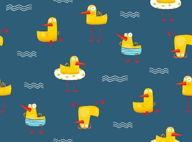 Śliczny żółty dziecko kaczki wzoru bezszwowy wzór