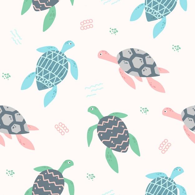 Śliczny żółw morski zwierzęcy bezszwowy wzór dla tapety