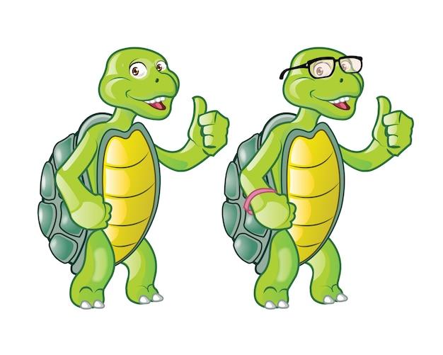 Śliczny żółw pokazuje kciuk w górę kreskówki maskotki