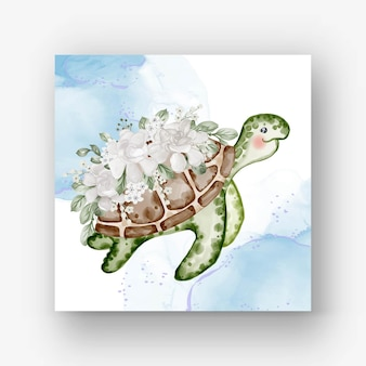 Śliczny żółw z kwiatową białą akwarelą ilustracją