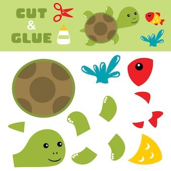 Śliczny żółw z rybą skacze z wody. papierowa gra dla dzieci. wycinanie i klejenie.