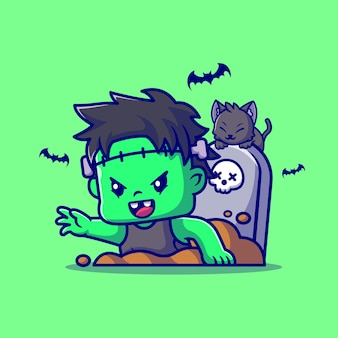 Śliczny zombie frankenstein z grobu ilustracja kreskówka. ludzie halloween koncepcja na białym tle. płaski styl kreskówki