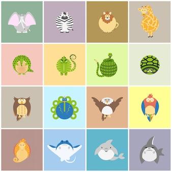 Śliczny zoo zwierząt karty set