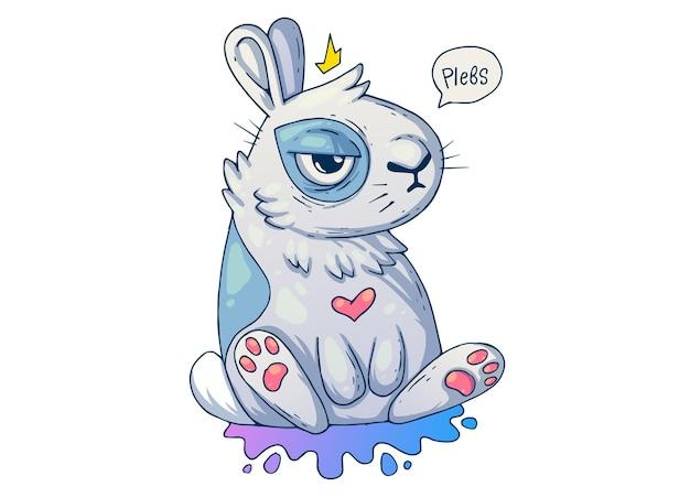 Śliczny zrzędliwy królik. ilustracja kreatywnych kreskówek.