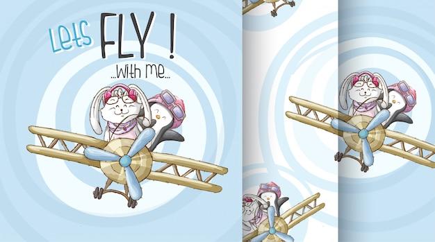 Śliczny zwierzę na samolot deseniowej ilustraci