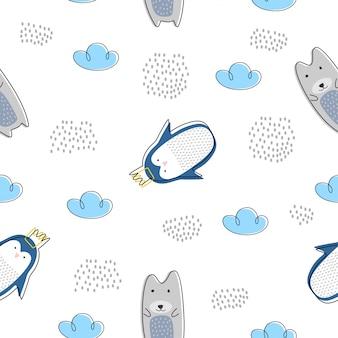 Śliczny zwierzęcy bezszwowy wzór z niedźwiedzia polarnego i pingwinu skandynawskim rysunkiem
